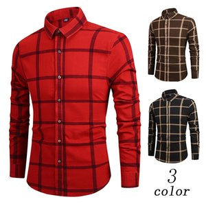 Wholesale HOT SALE Mature Men s Long Sleeve Button Large Plaid Printed Shirt Turn down Collar Casual Fashion Top Blouse Shirts