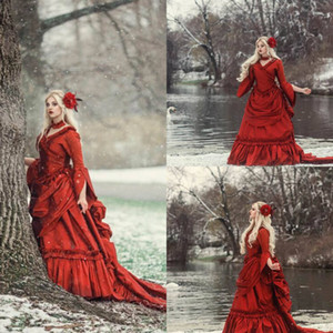 2020 Red Gothic Wedding Dresses V Neck Ruffles Long Sleeve Vintage Victorian Bridal Dress Tiered Skirts Satin Vestidos De Novia