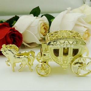 Wholesale gold wedding carriage resale online - Shiny Beautiful Carriage Candy Box Chocolate Gift Birthday Party Wedding Decoration Gold And Silver Nobility Style And Romantic