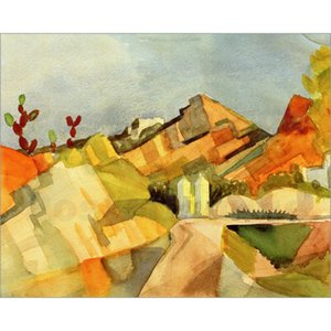 Wholesale painting landscape art image for sale - Group buy Rocky Landscape by August Macke Oil paintings hand painted art abstract image for decorative