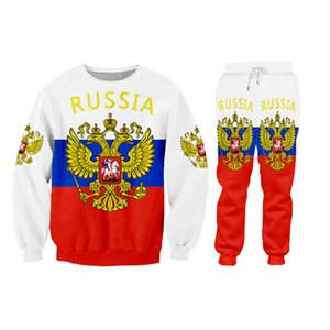 Wholesale Novelty Russia Flag Sweatshirts Men 2 Pieces Sets For Pullovers + Sweat Pants Unisex Clothing Two-piece Outfits Custom Tracksuit