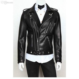 Fall-Jaqueta Couro Masculina Pop Nice Foreign Trade Biker Jacket Mens Leather Jackets And Coats Locomotive Zipper Male Leather Jacket on Sale