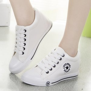 Wholesale woman tenis shoes resale online - Hot Sale eakers Women Trainers Wedges Casual Canvas Shoes Female Basket Femme ladies White Black zapatillas mujer tenis feminino