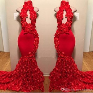 Wholesale Red New Design Mermaid Prom Dresses Flower High Neck Sweep Train Sexy Formal Evening Dresses Satin Luxury Fashion Cocktail Party Gowns