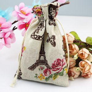 Wholesale 50pcs X14cm Natural Organic Muslin Cotton Drawstring Bag Eiffel Tower Printed Rope Bag for Wedding Festive Party Supplies