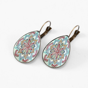 Wholesale Mandala Chrysanthemum Yellow Feather Flower Water Drop Earrings For Women Bronze Plated Glass Indian Style Jewelry