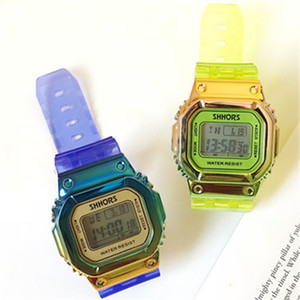 Wholesale Nice New Model Fashion lady watches Candy Jelly Men Women Silicone Rubber LED Screen Digital Watch Transparent Square Women Wristwatches