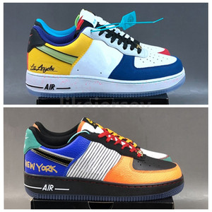 New Low 1 07 What The LA NYC One 1s Stitching Graffiti Mens Women Designer Sports Sneakers Platform Trainers Size 36-46