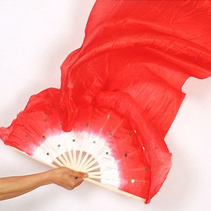 Wholesale Hand Made Colorful Belly Dance Women Costume Bamboo Long Silk Fans Veil Silk Fan Drop Shipping