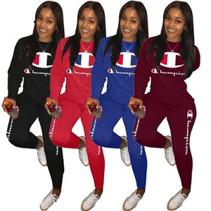 Wholesale Embroidery Champion Letter Tracksuits Long Sleeve 2pcs Outfit for Women T shirt Hoodie Pullover and Pants Autumn Sweatsuit Jogger Suit A3207