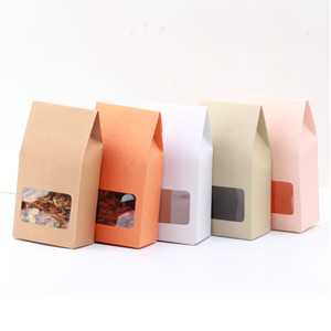 Wholesale 50pc kraft paper gift box Bags Paper brown stand up Bags window for wedding Gift Jewelry Food Candy Packing Bags x15 x5cm