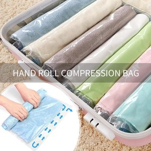 Wholesale Clothes Compression Storage Bags Hand Rolling Clothing Plastic Vacuum Storage Bag Travel Space Saver Bags for Luggage sizes