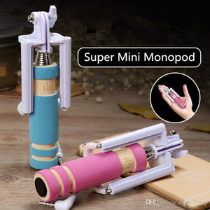 Wholesale New Portable Mini folding mobile phone Wired self Selfie Sticks For iphone samsung galaxy Built in Shutter Camera Monopod Tripod