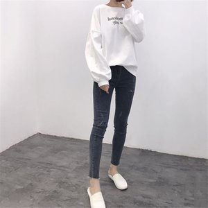 Autumn Dress New Style Women's Elastic Trousers Fake Hollow Personality Jeans Fashion Female Popular Trend Style jooyoo