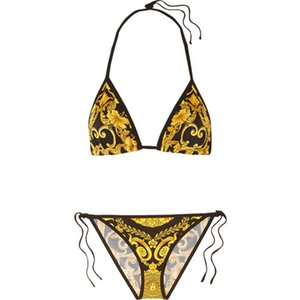 Wholesale Sexy Two Piece Set Bikini Fashion Printed Brand Bathing Suit V Neck Backless Bikini Set Women Beach Swimwear