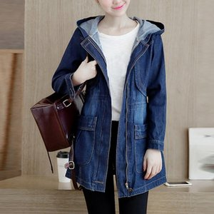 Wholesale Jeans Jacket Women Denim Jacket Blue Women Casual Hooded Single Breasted Coat Loose Ladies Korean Faded Wash J30