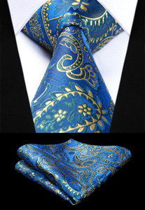 Wholesale New Floral Paisley Mens Tie Blue Woven Silk Necktie Handkerchief Set TF4015B38S Party Wedding Classic Fashion Pocket Square Tie