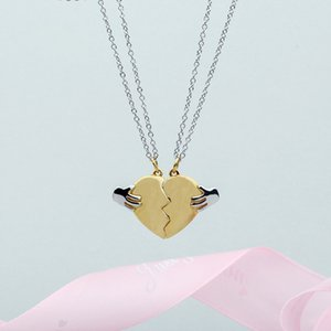 Wholesale Broken Heart Shape Chain Pendant Necklace Statement Gold silver for lover couple friends Jewelry Gift drop shipping