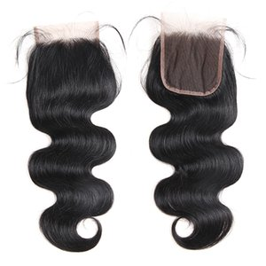 7A Unprocessed Brazilian Body Wave Virgin Human Hair Lace Closure Peruvian Malaysian Indian Free part 4 x 4 Lace Top Closure Remy Quality on Sale