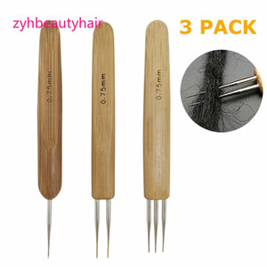 3Pcs Set 0.75mm Bamboo Dreadlock Crochet Hook Dreadlocks Crochet Needle Soft Touch Steel Double Crochet Hook for Dreads Tool on Sale