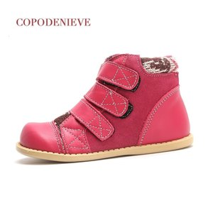 Wholesale COPODENIEVE winter children Genuine leather snow boots thickening girls warm Mid-Calf cotton shoes T191030