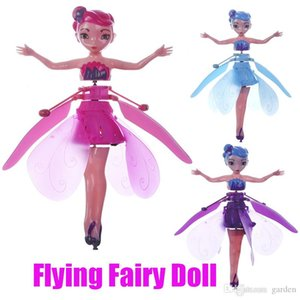 Wholesale 2019 DIY Flying Fairy Dolls Toy Mini RC Drone Infrared Induction Control LED Light Flying Fairies Doll Helicopter Toys for Girls Xmas Gift