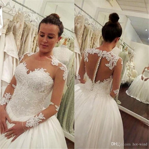 2020 Lace Appliques Long Sleeves Ball Gown Wedding Dress Jewel Sheer Neck Illusion Back Covered Button Bridal Gowns