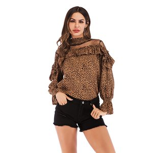 Wholesale 2019 new Women Leopard Print Blouse Chiffon Mesh Fabric Tops Loose Yarn Shoulders Lace Patchwork Long Sleeve Fashion Ruffle Shirts Tees