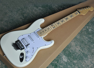 Factory Wholesale White Electric Guitar with Floyd Rose,Maple Fretboard with Star Inlay,Can be customized as reques
