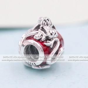 2020 Release S925 Sterling Silver Red Enamel Mulan Mushu Dragon Charm beads Fits European Pandora Bracelets Necklace