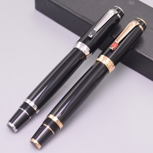 Wholesale High Quality Bohemia MB Black Fountain Pen With Shine Diamond Office School Supplies Luxury Write Smooth Resin Ink Gift Pens Nib