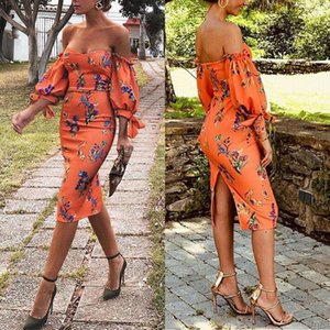 Wholesale Coral Off Shoulder Print Ladies Dress Sheath Slash neck Sleeveless Short Party Dress Boho Beach Casual Summer Style High Quality Dress 2114
