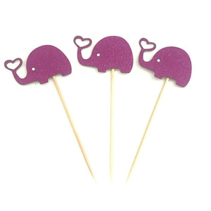 bolos decoração venda por atacado-10pcs encantador Elephant Cupcake Toppers Baking Plug in Dress up Elephant Birthday Cake Decoração Wedding Party Decor Suprimentos DBC DH1213