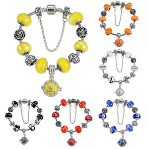 Wholesale Antique Silver Plated Charm Bracelets European Big Hole Evil Eye Charms Glass Beads Perfume Locket Dangle Charms for Women Girls