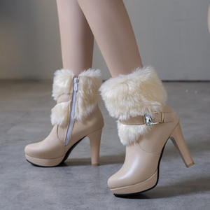 Big small size 32 33 34 to 40 41 42 43 women fur boots keep warm winter bootie bridal wedding shoes white beige black