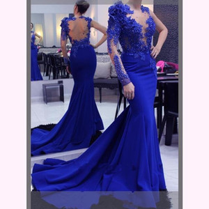 Wholesale 2020 One Shoulder Long Sleeve Evening Dresses Illusion Lace Appliques Crystal Beaded Flowers Open Back Party Royal Blue Mermaid Prom Gowns