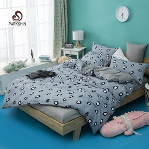 Wholesale ParkShin Leopard Printed Bedspread Double Queen King Size Duvet Cover Set Decor Bedding Set Bed Linens Gray Flat Sheet Adult Bed