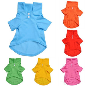 ingrosso costumi cani-Pet Puppy Dog Polo Shirt Candy Color Puppy Clothes Pets Coat Cotton Cat Costumes Vestiti per cani per Teddy
