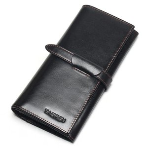 Wholesale 100% Genuine Leather Cowhide High Quality Vintage Solid Color Men Long Wallet Coin Purse Vintage Designer Male Carteira Wallets
