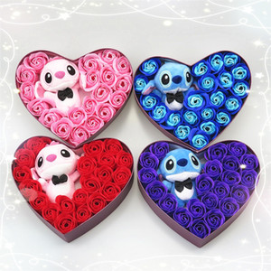 Wholesale Hand Made Low Price High Quanlity Pink And Blue Plush Toys With Soap Flowers Stitch Bouquet Creative Valentine s Gifts Q190521