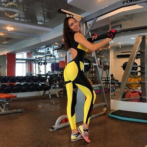 Wholesale Women Yellow Patchwork Jumpsuits Sporting Elastic Skinny Fitness Bodysuit Female Sexy Backless Hollow Out Mesh Sportswear