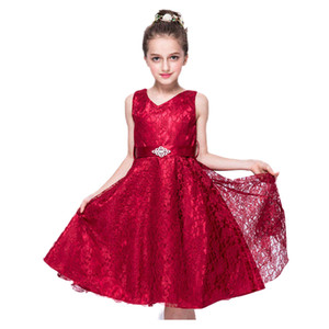 Girls Dresses Evening Dress 9 Colors Lace Thick Satin Sash Ball Gown Birthday Party Christmas Princess Dresses Flower