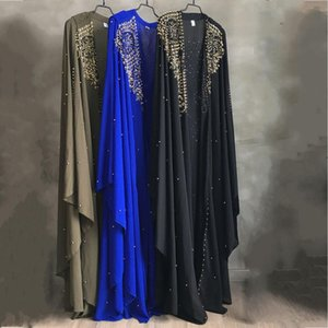 Wholesale Plus Size African Dresses for Women Dashiki Diamond Beads African Clothes Abaya Dubai Robe Evening Long Muslim Dress Hooded Cape