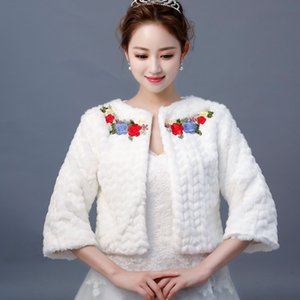 Wholesale 2019 Chinese Style Appliques Bridal Wraps Three Quarter Sleeves Faux Fur Shawl Jackets For Wedding Party Winter Warm Bolero New Fashion