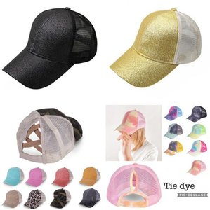 Ponytail Baseball Cap Tie Dye Sequins Messy Bun Hats Criss Cross Washed Snapback Caps Summer Sun Visor Outdoor Home Party Hat OOA8165
