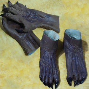 Wholesale New terror zombie Ghost Gloves Booties Halloween set devil cos cosplay carnival masquerade latex hood Gloves