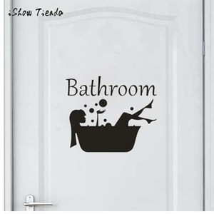 Wholesale Bathroom Wall Sticker Letter Removable Art Vinyl Mural Home Room Toilet Door Vinyl Decal Transfer Vintage Decoration Quote Art