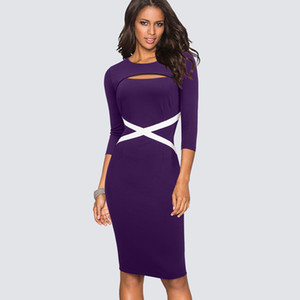 Wholesale Women Sexy Cut Out Business Pencil Dress Casual Patchwork Work Office Lady Dress Elegant Sheath Bodycon HB490