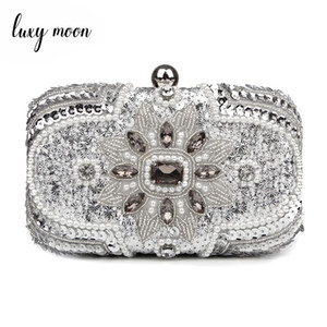 Wholesale New Glitter Women Beaded Clutch Silver Evening Bags With Chains Handbag Wedding Dress Bag Party Purse Banquet Package