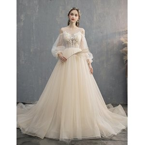 Dreaming Boho Juliet Long Sleeves Princess Wedding Dresses 2020 Nude Embroidery Pleated Draped Berta Wedding Dress Reception Bridal Gowns on Sale